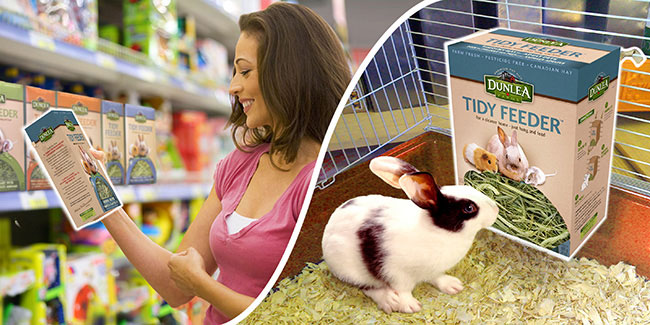 The Tidy Feeder package in a store, and in use in a rabbit's cage.